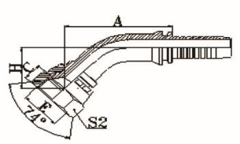 45°国际公制内螺纹74°内锥面