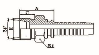 公制外螺纹24°内锥面轻系列ISO 8434-1-DIN 3861