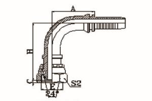 90°公制内螺纹24°锥带O形圈重系列ISO 12151-2-DIN 3865