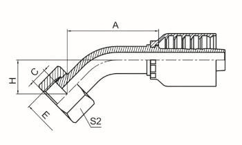 45°公制内螺纹平面 参考 REF GB/T 9065.3