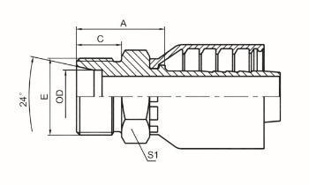 公制外螺纹平面24°内锥面轻系列 DIN 3853