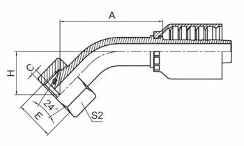 45°公制内螺纹24°锥带O形圈轻系列 ISO 12151-2 DIN 3865