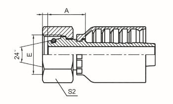 公制内螺纹24°锥带O形圈轻系列 ISO 12151-2 DIN 3865