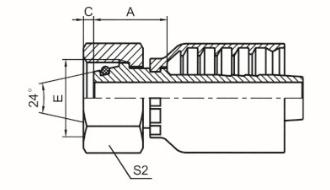 公制内螺纹24°锥带O形圈重系列 ISO 12151-2 DIN 3865