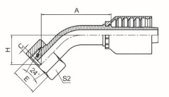 45°公制内螺纹24°锥带O形圈重系列 ISO 12151-2 DIN 3865