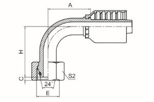 90°公制内螺纹24°锥带O形圈轻系列 ISO 12151-2 DIN 3865