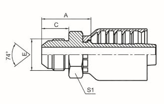 国标公制外螺纹74°外锥面 参考REF.GB/T5628