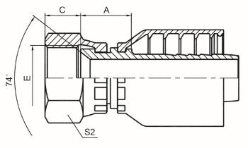 国标公制内螺纹74°外锥面 参考REF.GB/T9065.1