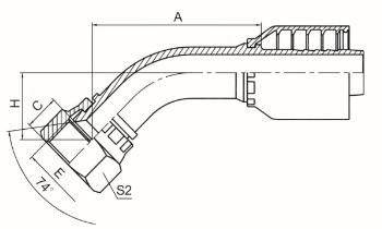 45°国标公制内螺纹74°外锥面 参考REF.GB/T9065.1