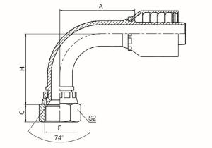 90°国标公制内螺纹74°外锥面 参考REF.GB/T9065.1