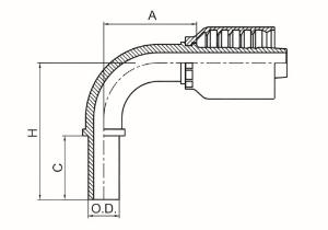 90°公制卡套式直管 DIN 2353