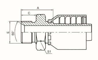 英管外螺纹60°内锥面或六角端面组合垫密封的双用接头