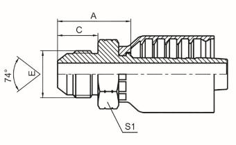 美制JIC外螺纹74°外锥面 ISO 8434-2 SAE J514