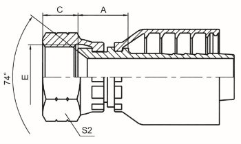 美制JIC内螺纹74°内锥面 SAE J514