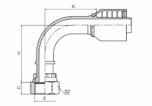 90°美制ORFS内螺纹平面 ISO 12151-1 SAE J516